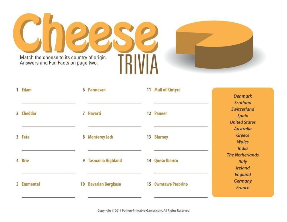 Foods & Drinks Games Cheese Trivia Game, 6.95 Trivia
