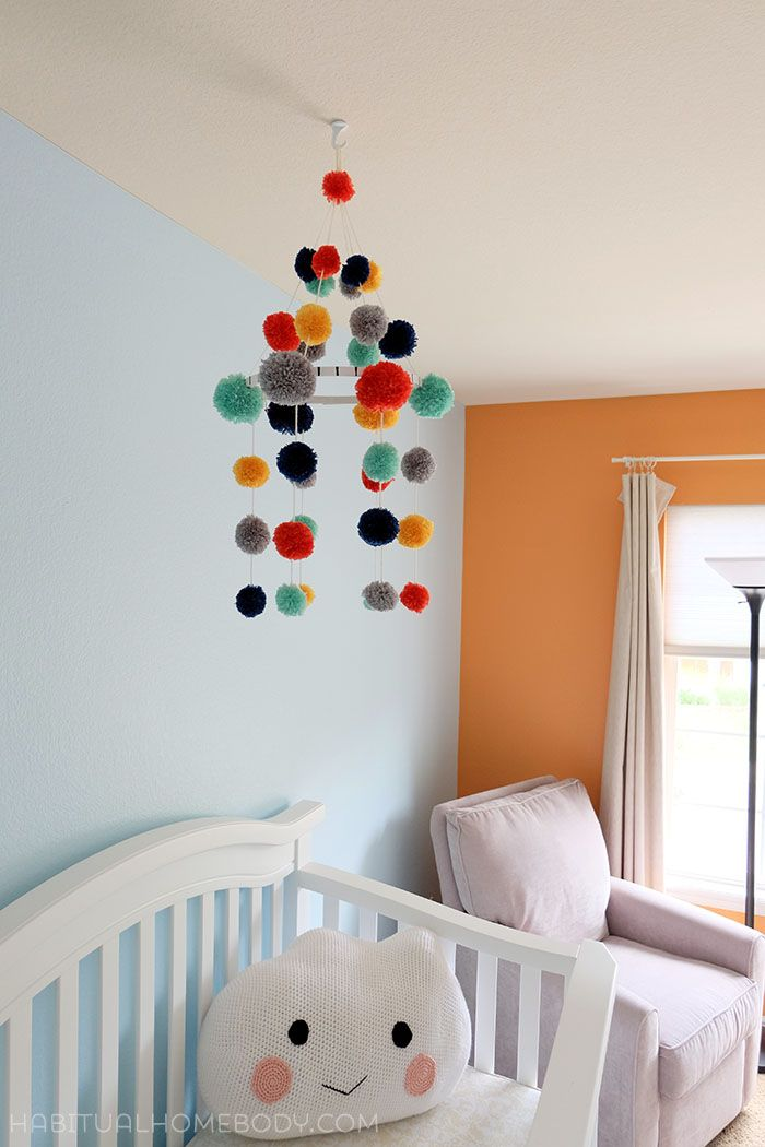 Diy Pom Pom Nursery Mobile A Step By Step Tutorial Diy Baby Mobile Pom Pom Mobile Diy Baby Stuff