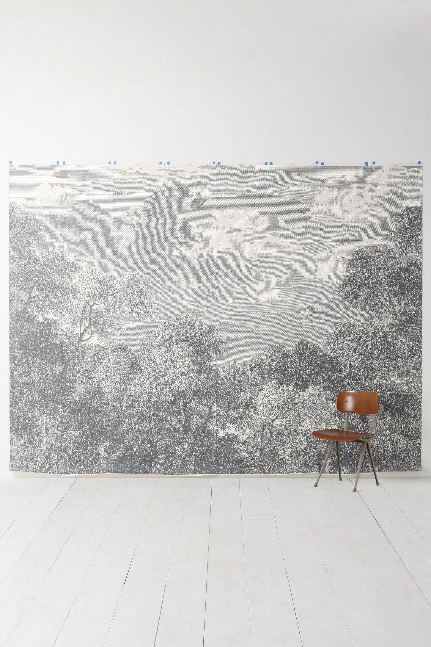 Etched arcadia mural anthropologie grisaille and bright for Anthropologie dreamscape mural