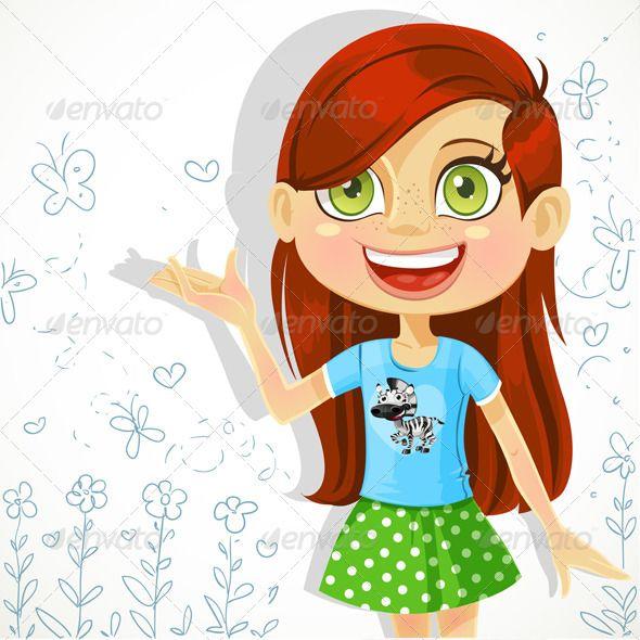 Cartoon Teenage Girl Standing