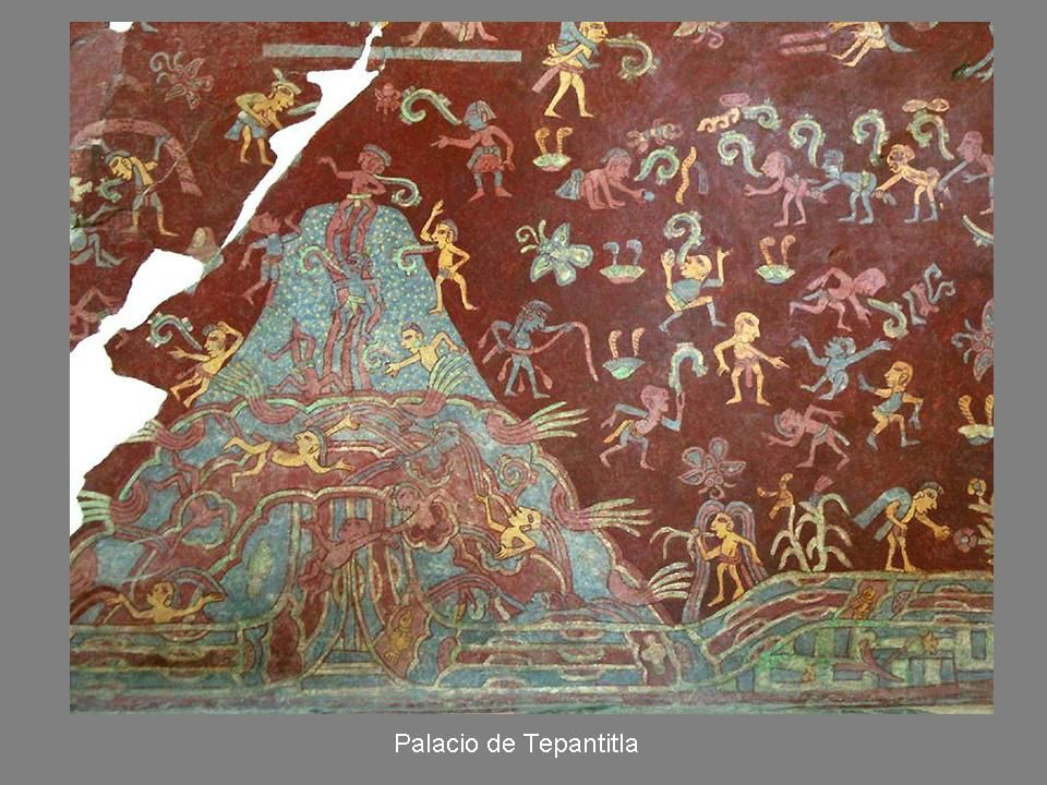 Mural tlalocan palace tepantitla otherworld for Aztec mural painting