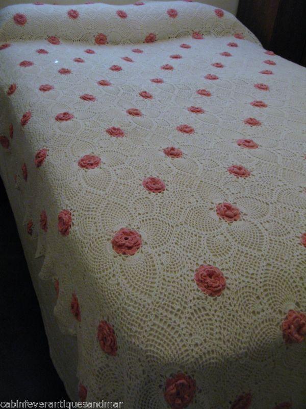 Vintage Pineapple Crochet White Pink 3D Rosette King Queen Full ...