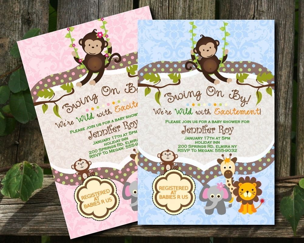 Jungle Baby Shower Invitations Swinging Monkey Giraffe Lion Elephant