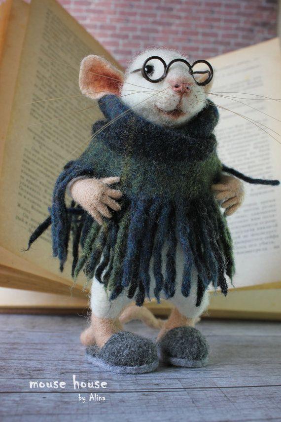 Gefilzt, Maus, Oma Maus, weiche Skulptur, Art Doll, Nadel gefilzt Tier, Puppe, Сloth Puppen, Maus mit Brille, niedlichen Filz #feltart