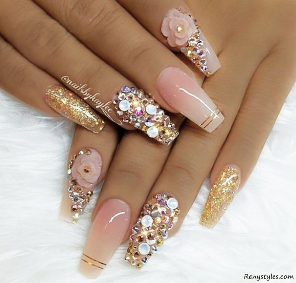 Beautiful 3d Nail Art For This Week Stylish Popular With Images Nails Design With Rhinestones Nail Jewels 3d Nails