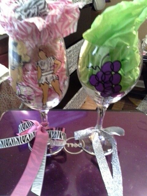 Beyonce & Merlot glasses made by my daughter and I.