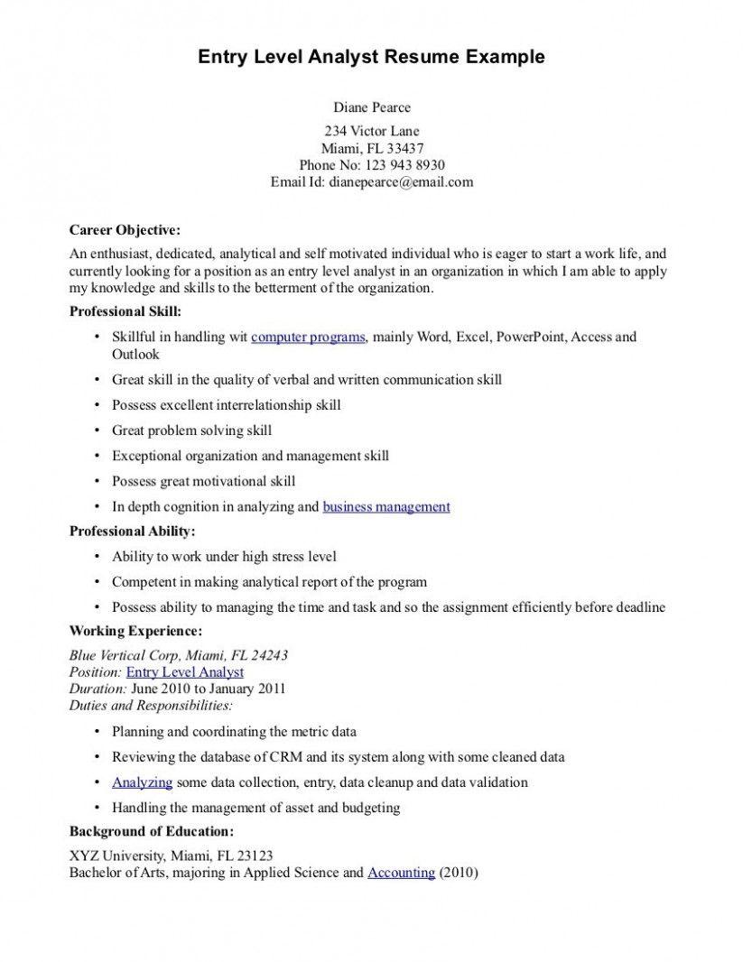 Entry level resume sample objective in 2021 resume