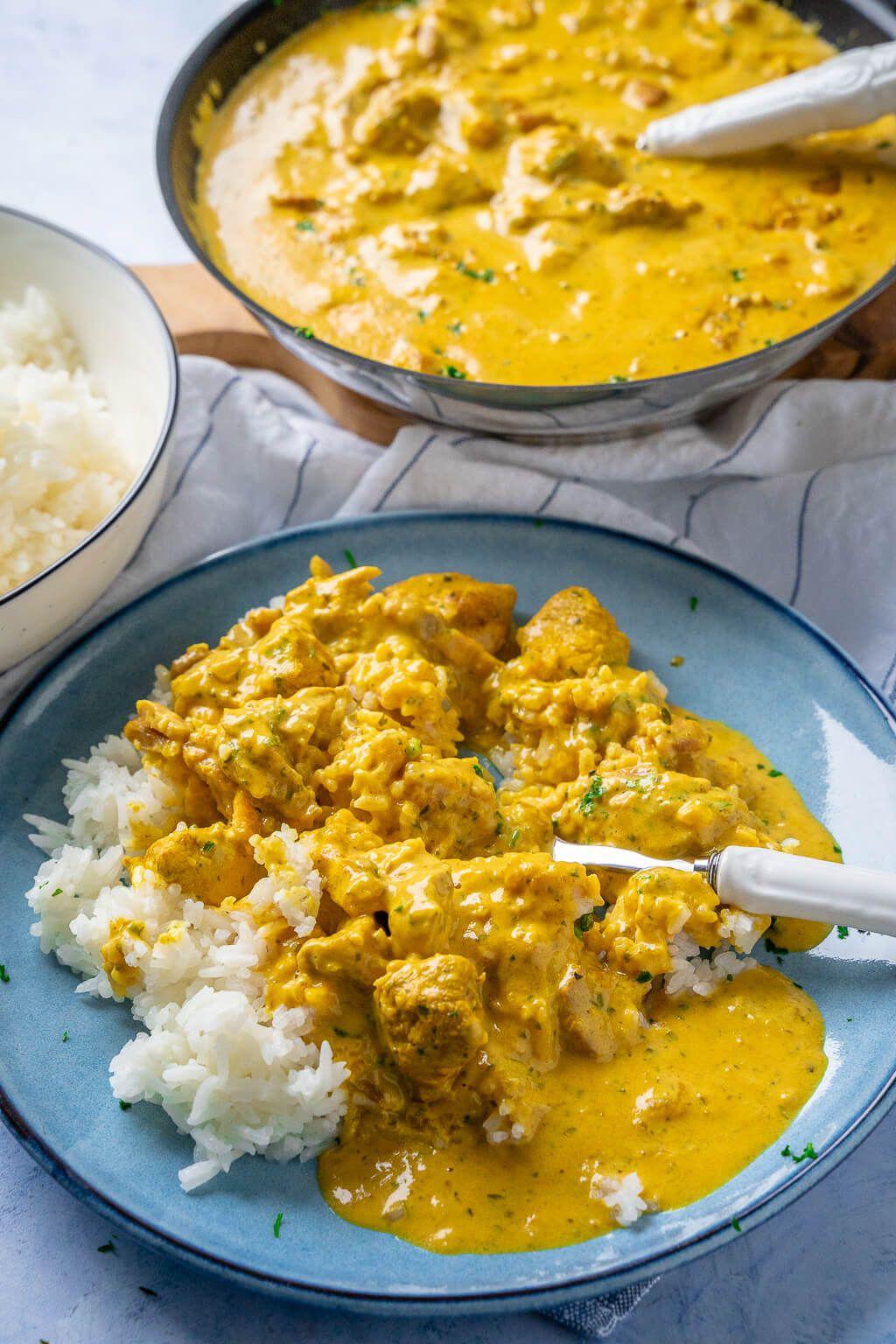 Geschnetzeltes in cremiger Currysauce