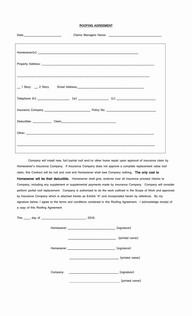 Free Residential Roofing Contract Template In 2020
