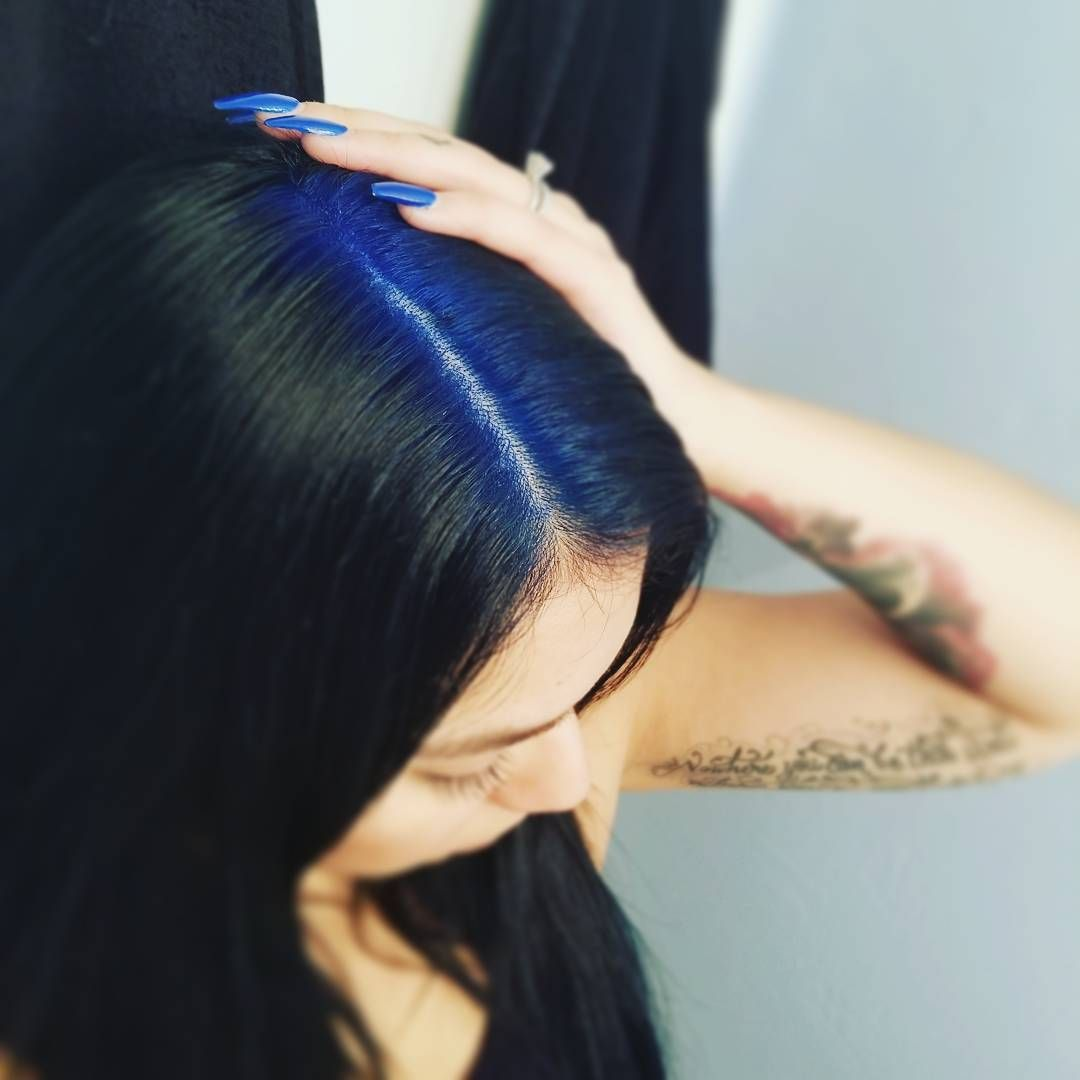 Navy Blue Roots With Black Hair Roots Hair Hair Color For Black Hair Hair