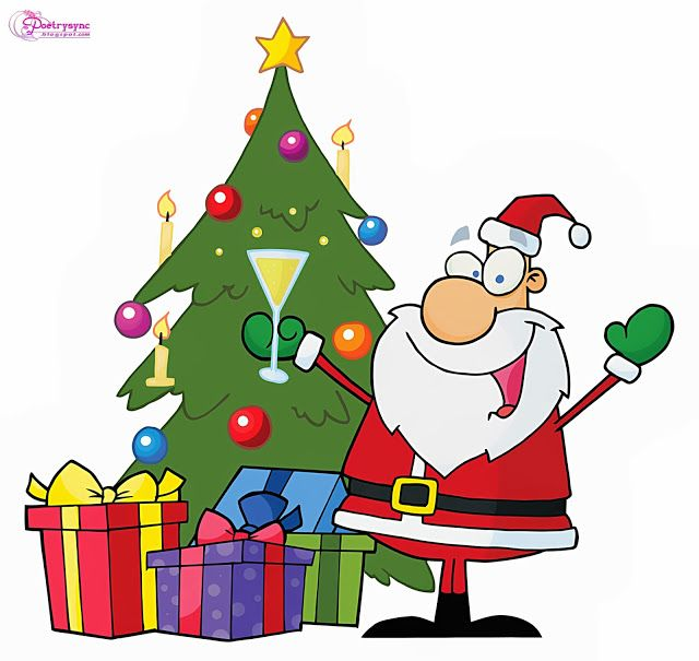 Santa Cartoon Clipart Jolly Santa Christmas Tree Celebrating Christmas Festival Cartoon Christmas Tree Christmas Tree Clipart Christmas Tree Pictures