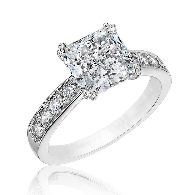 2 0 Ct Square Fancy Cz Solitaire Engagement Ring