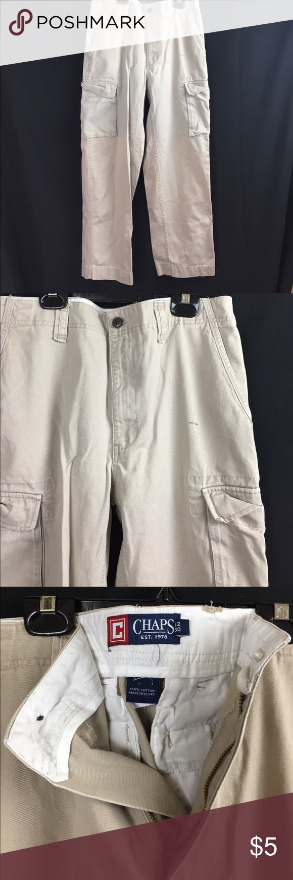 Chaps Work pants 7/10 stain on front, belt loop broken 32 x 30 Pants Cargo