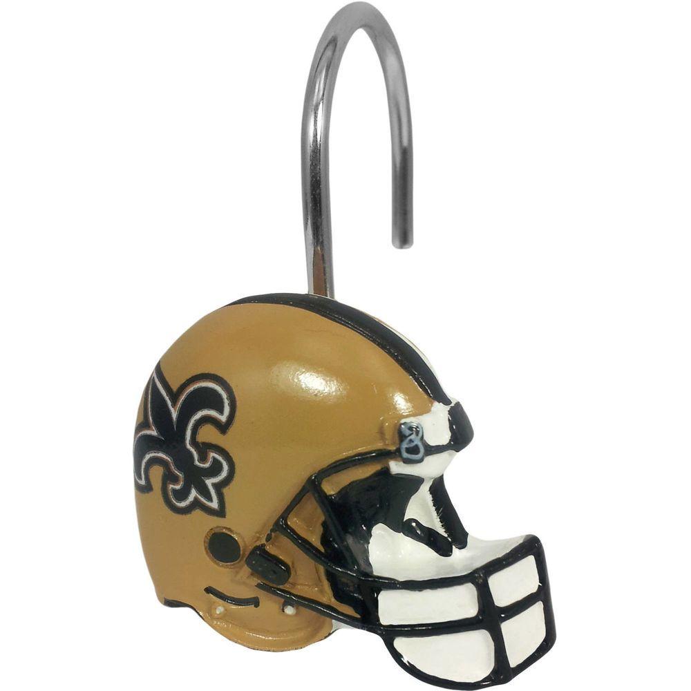 New Orleans Saints Shower Curtain Ring Set 12pc Nfl Team Helmet