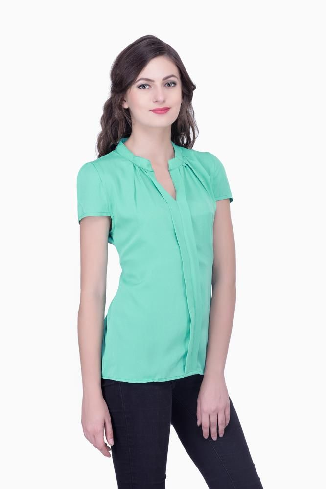 Green Solid Women Party Wear Office Casual Tops Tunics For Online India