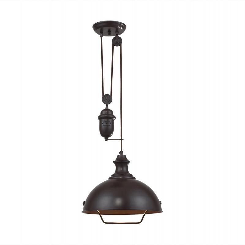 Could Have A Cool Hook For Raising And Lowering The Light As A Decorative  Element In The Room As Well.   Elk Farmhouse Oiled Bronze Pull Down ...