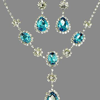 Crystal Bridal Jewelry Set Blue Rhinestone Necklace Earrings Set