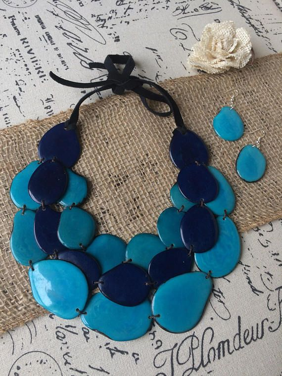 Tagua nut necklace. Turquoise bin necklace. Layered necklace. Handmade beaded necklace