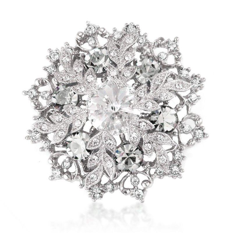 Wholesale 2 Inch Rhodium Silver Tone Austrian Crystal Elegant Winter Snowflake Corsage Brooch Pins