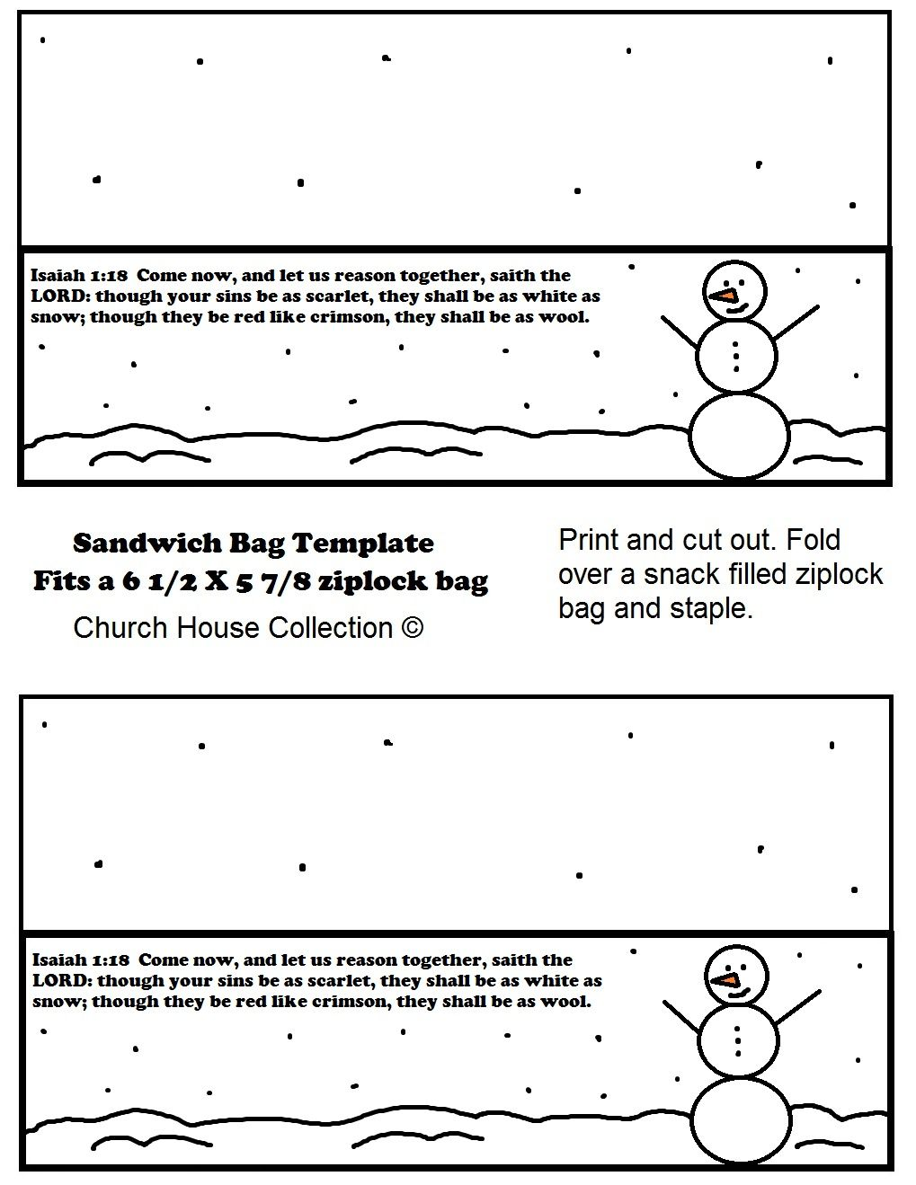 Free Christmas Printable Template Snowman Sandwich Bag Template By