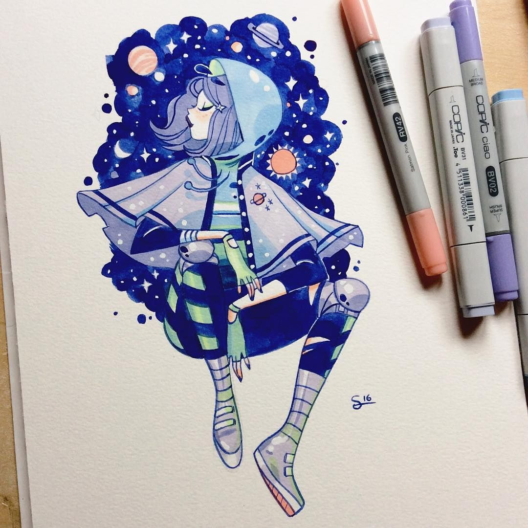 Space Girl Copic Marker Art Copic Drawings Marker Art