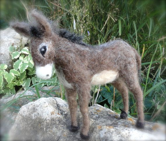 Needle Felted Donkey, Burro, Nativity Animal