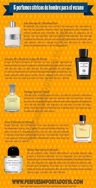 5 Perfumes Cítricos De Hombre Para Primavera Y Verano Infografía