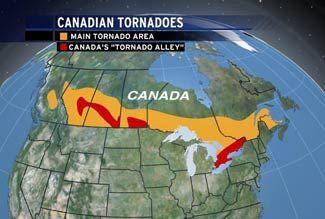 Canada Tornado Alley Map Tornado Alley  US and Canada   Tornado alley, Tornado, Canada