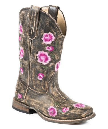 Loving this Pink & Gray Rose Embroidery Leather Cowboy Boot on #zulily! #zulilyfinds