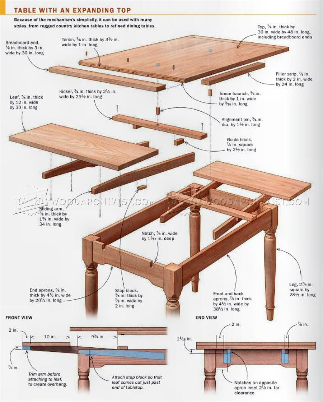 Kitchen Table Plan 2620 Expanding Table Plans Furniture Plans Proje Planlar