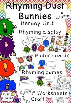 Rhyming Dust Bunnies Literacy Rhyming Unit Rhyming Words