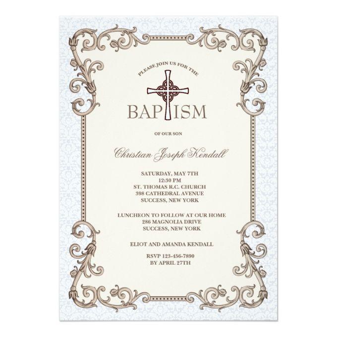 Old World Elegance: Old World Blue Baptism Invitation