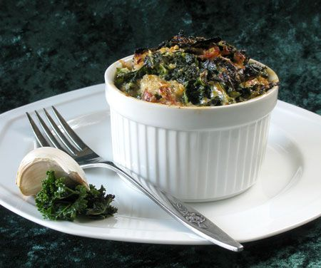 Kale Casserole - delicious - make if vegetarian by swapping mushrooms for sausage!