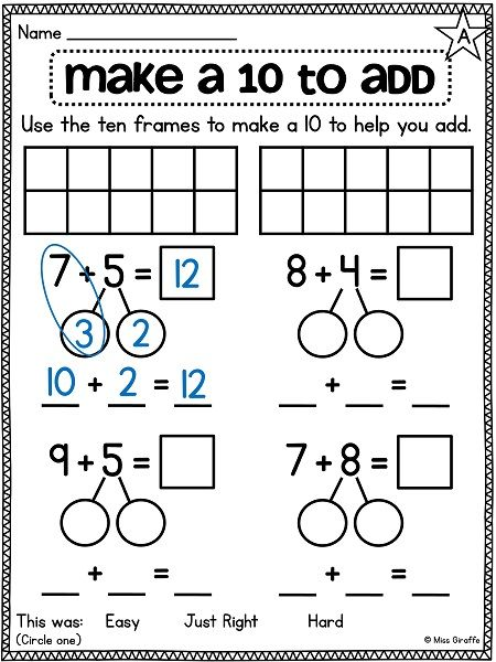 Fb E F Ae F Ca A C on ten frame addition practice printable worksheet
