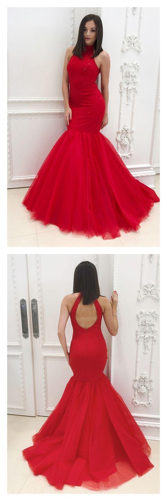 Red halter long tulle mermaid prom dresses pl mermaid