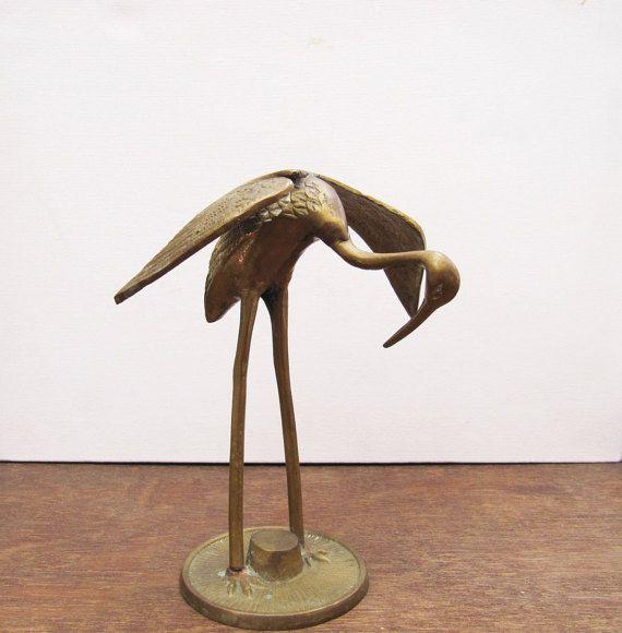 Vintage Brass Stork, Vintage Brass Crane, Vintage Brass Heron, Vintage Brass Bird, Vintage Brass Bird Figurine,  Bird Sculpture Home Decor