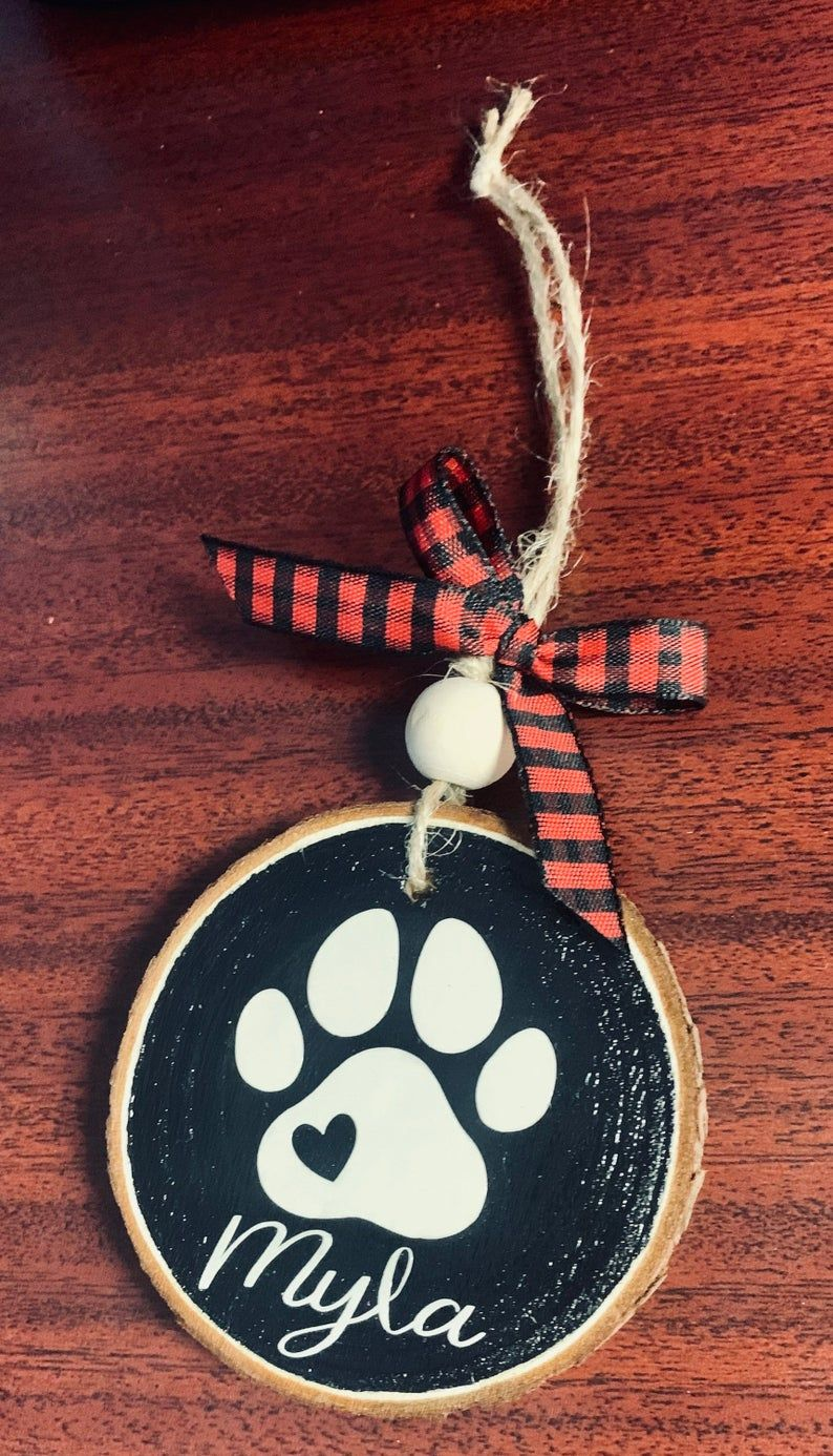 Personalized Dog Wood Slice Ornaments Etsy In 2021 Wood Slice Ornament Paw Ornament Custom Christmas Ornaments