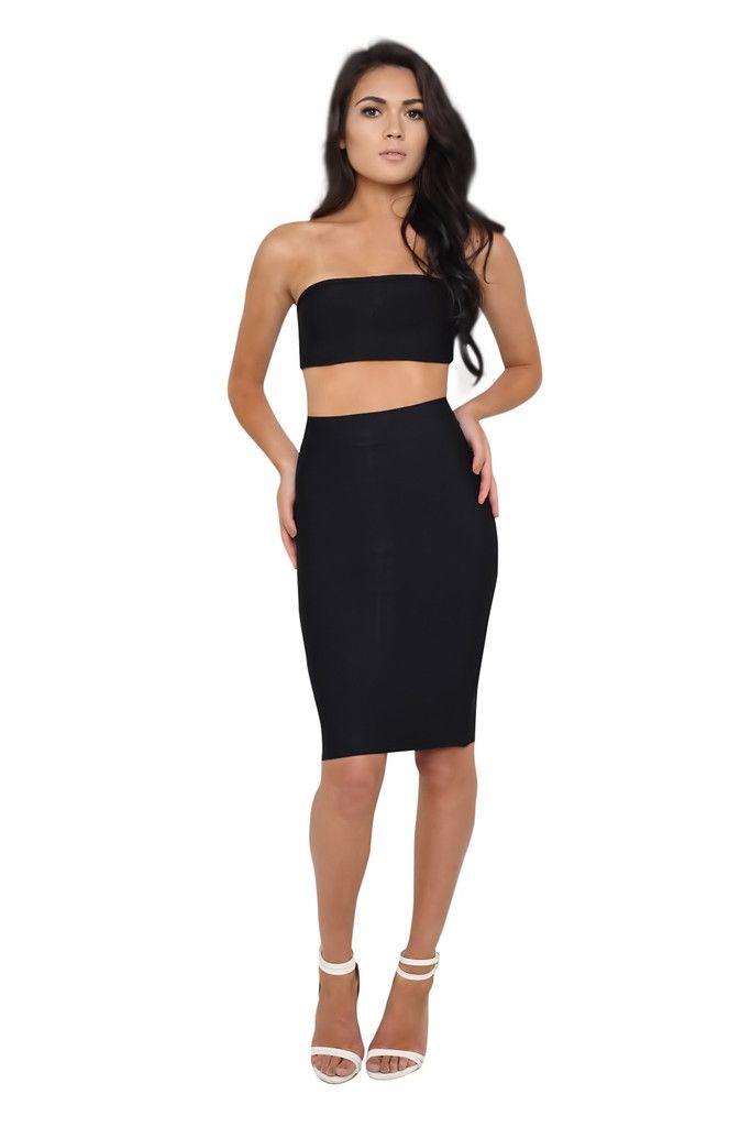 0864aaf77fae6 Mia Black Bandeau Crop Top and Midi Skirt Bandage Set