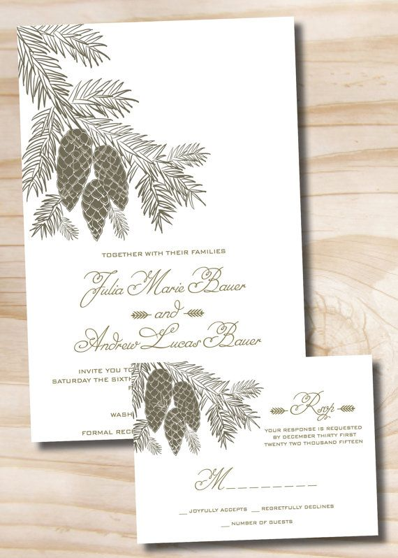 PINECONE AND FIR Wedding Invitation and Response Card Invitation Suite