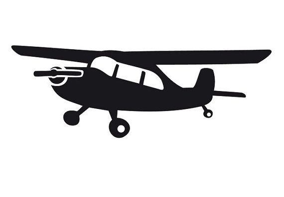Single Engine Propeller Airplane Vinyl Decal Is 24 By