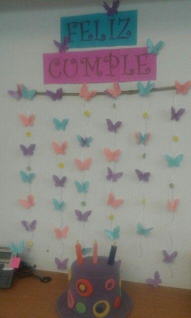 Cumplea os pr ctico para la oficina con hojas de colores - Manualidades decoracion cumpleanos ...