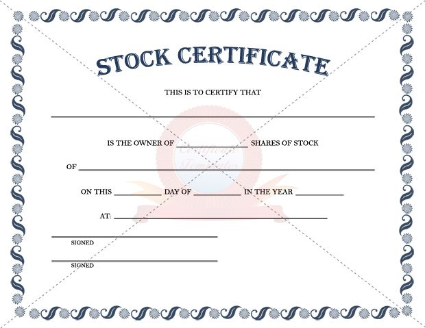 Stock certificate template stock certificate a sample of the stock certificate template stock certificate templates yadclub Images