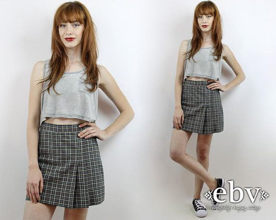 da782e4459 Vintage 90s Grunge Skirt S M Plaid Mini Skirt Plaid Skort Grey Plaid ...