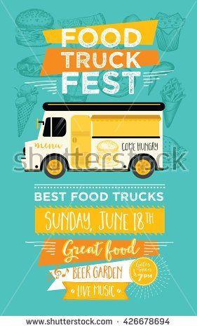 Food truck festival menu food brochure, street food template - cocktail menu template free download