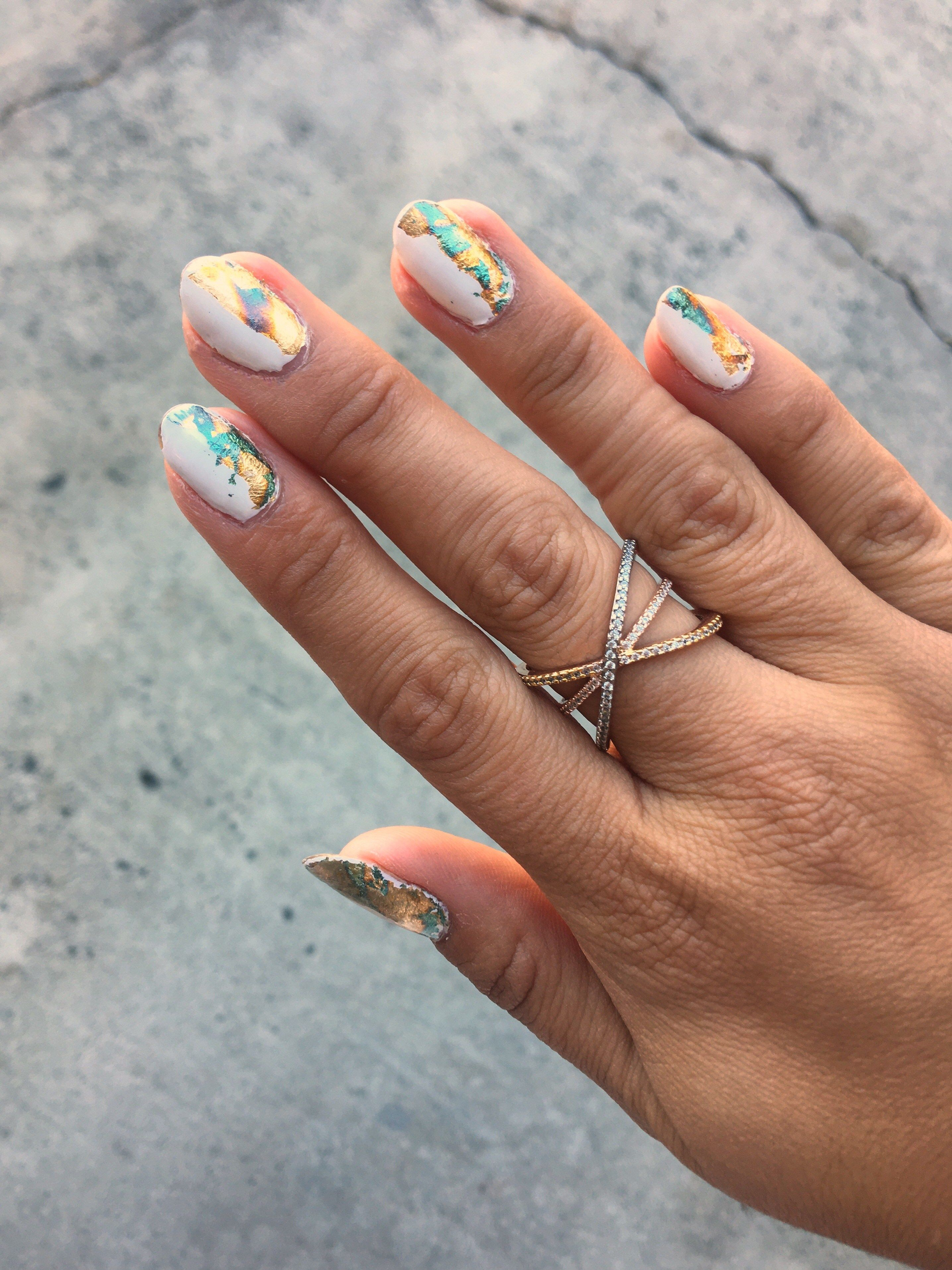 Half & Half Foil Nail Art