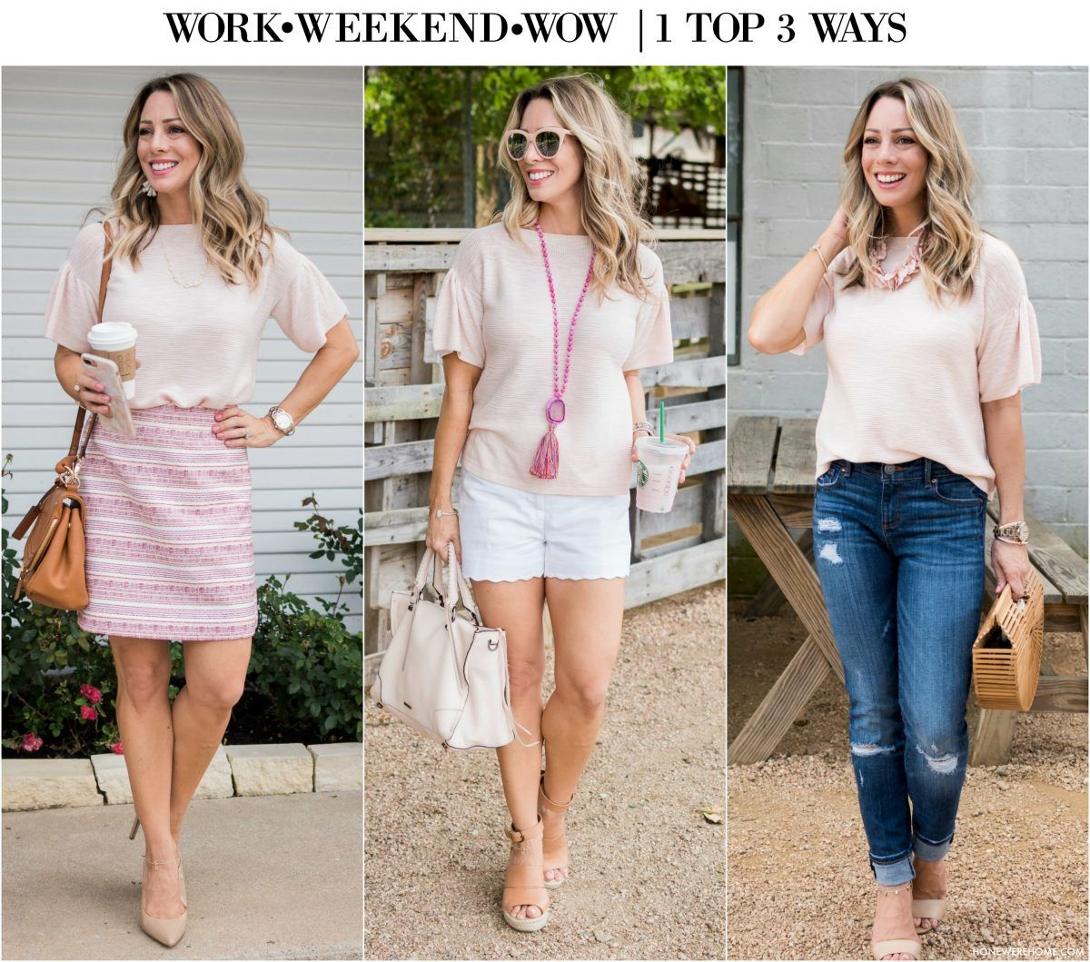 ba3a09bf3cca Work Weekend Wow - Pink Top 3 Ways Trendy Outfits
