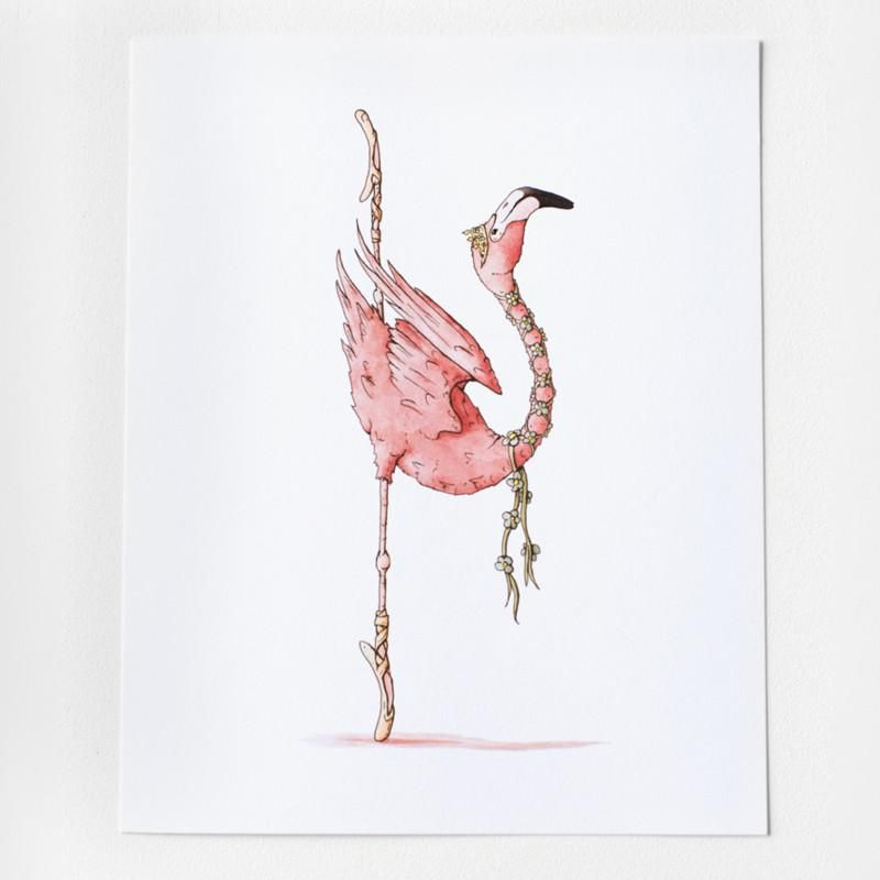 Ballet Flamingo Art Print 8x10 Flamingo Art Flamingo