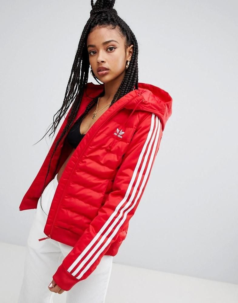 5e131c60d7cc adidas Originals Three Stripe Padded Windbreaker Winter Jacket In Red