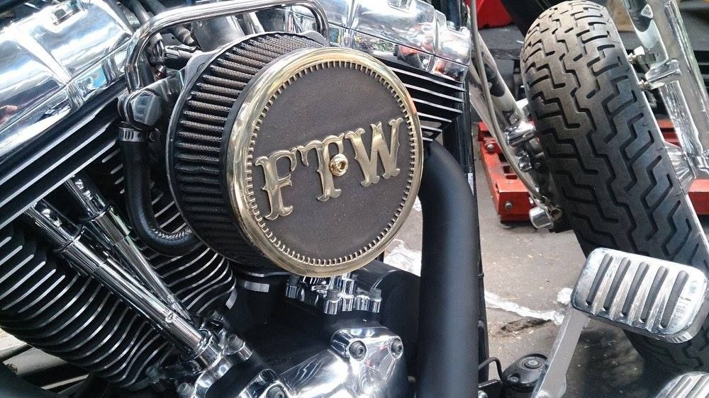 """0048 KN FTW brass 5,5"""" Air Cleaner Cover by Chopper"""