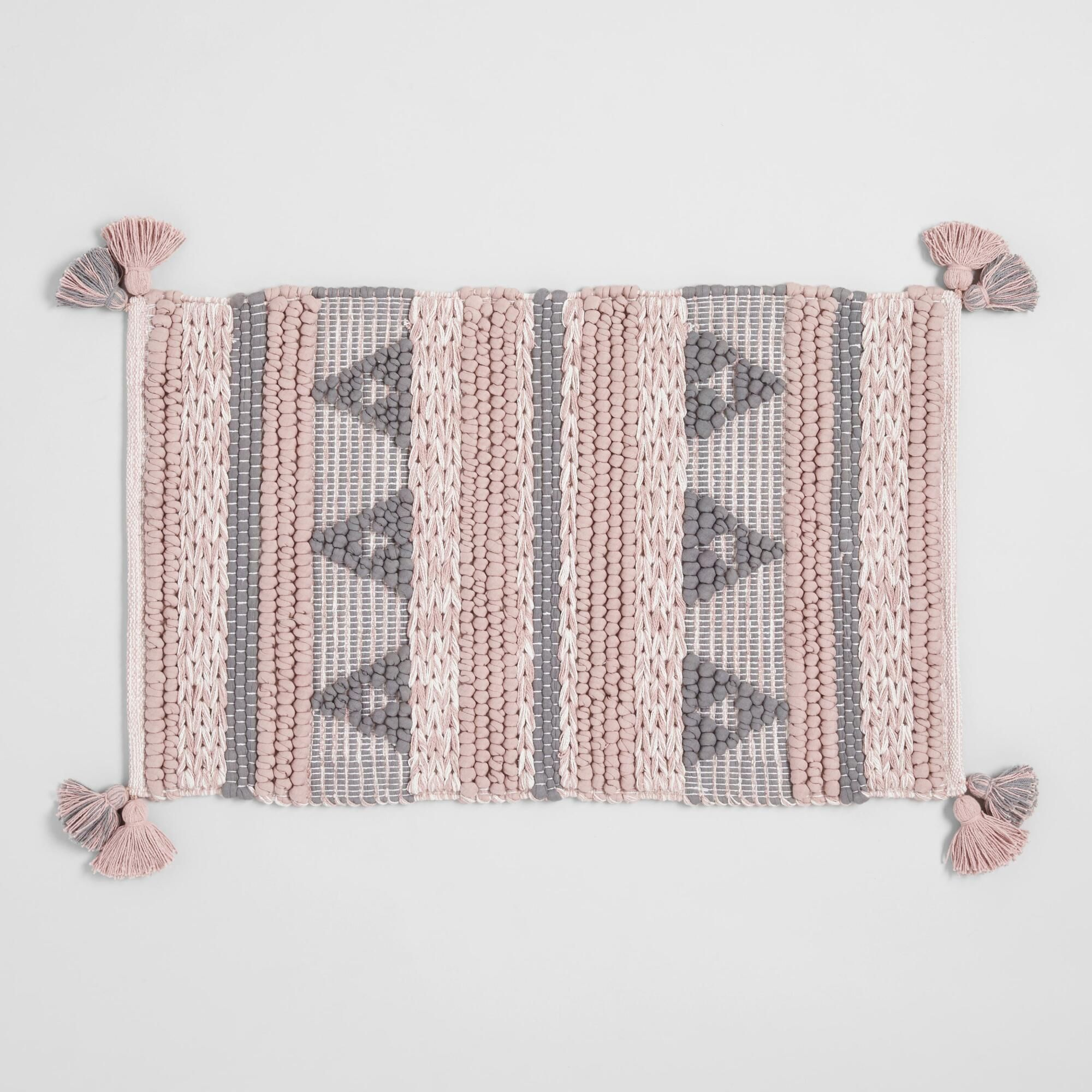 Blush And Gray Geometric Chunky Tassel Bath Mat Blush And Grey